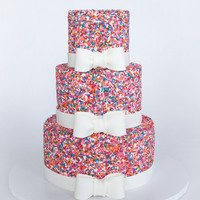 Girly Sprinkle Cake White Velvet Cake (CakeMommyTX's recipe) with Oreo buttercream and TONS of sprinkles!