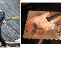 Pink Guitar PInk Fender Guitar Cake for Recording Studios manager!