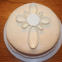 Baptism Cake Buttercream frosting with fondant cross