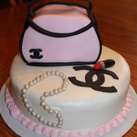 Chanel Purse Cake With Lipstick And Pearls Chanel purse cake with lipstick and pearls