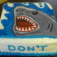 Shark Cake Jaws cake made for a movie themed potluck.