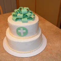 Baptism Cake   BC cake, the bow, cross and circle is fondant.
