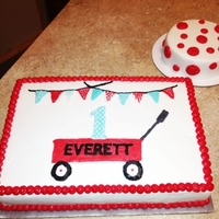 Red Wagon Cake BC 1/4 sheet cake