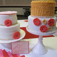 "Sweet & Spicy Theme Cakes These two cakes were made for a bridal shower with the theme ""Sweet & Spicy"". The cake on the left has a big ruffled ""..."