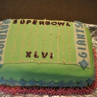 Superbowl Lxvi MMF FOndant on Red Velvet Cake