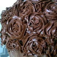Chocolate Giant Cupcake   Chocolate giant cupcake with chocolate roses & milk chocolate shell