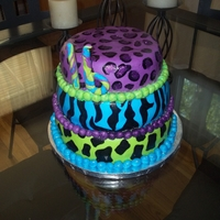 Neon Animal Print Cake hand painted designs