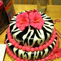 "21St Birthday Cake 8"" and 10"" round covered in fondant, hand painted zebra print with sugar flowers"