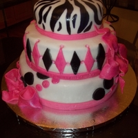 Sweet 16 Birthday Cake 3 tiered fondant & hand painted design.