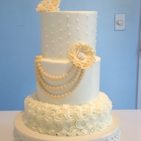 "White Wedding This cake was made for practice for a wedding I have coming up in October. I decided to play a little with white and ivory. The ""..."