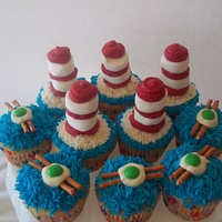 "Dr. Seuss Cupcakes The green eggs and ""ham"" (bacon) are simply pretzel sticks with a candy melt melted on top and an M&M on top. Blue ""..."