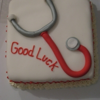 Good Luck I made this cake for my 4th year nursing student on her last day with me.