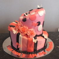Topsy Turvy Cake With Butterflies Roses Strips And Dots   Topsy turvy cake with butterflies, roses, strips and dots.