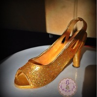 A Very Golden 50Th Birthday  Edible Golden Shoe Cake Topper Made for such a lively, vivacious, elegant lady who knows how to live life to the fullest. She gave me a...