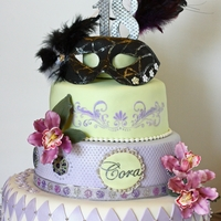 A Feminine Masquerade Themed Cake A Masquerade themed cake, with a more feminine twist.
