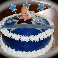 Baby Shower Cake With Cowboys Themed Baby And Star Vanilla And Strawberry Filling With Whip Cream Frosting And Fondant Accents   baby shower cake with Cowboys themed baby and star! Vanilla and strawberry filling with whip cream frosting and fondant accents