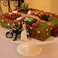 Grooms Cake With A Farm Theme Vanilla Almond Cake Fondant Amp Gum Paste Veggies And Animals Pretzel Fence Kit Kat Garden Beds And Ste  Groom's cake with a farm theme. Vanilla-almond cake, fondant & gum paste veggies and animals; pretzel fence; Kit-Kat garden beds...