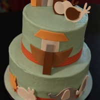 Noah's Ark Baby Shower Cake   Top tier chocolate cake, bottom tier butter cake. Vanilla buttercream with fondant and gum paste decorations.