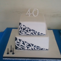 Maori Design, Black, White And Diamante Square Cake Made for my mums 40th. Had better pictures but they got deleted off my camera (So guttered!) so these are pictures others had taken and...