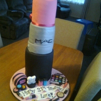Giant Mac Lipstick  Made for my cousins 21st, 3 tier. Top tier is plain madeira, Middle tier is Orignial Madeira (lemon), bottom rier is vanilla cake. I had...