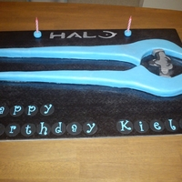 Halo Energy Sword  Energy sword from Halo. Made for my cousin whos a halo freak. Covered in blue fondant then sprayed with pearl lustre dust. The thin bits of...