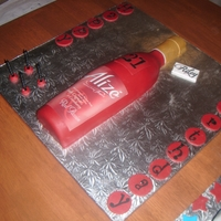Alize Bottles (Red Passion & Bleu) Made for my friend and his twin for their 21st birthday. I had been real sick leading up to their birthday in the end I had to do them on...