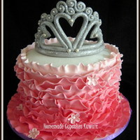 Ombre Pink Ruffle Cake With An Endible Fondant Tiara