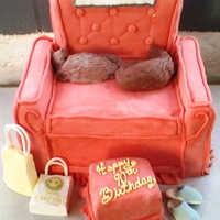 Mom Mom's 90Th Birthday Cake My wife's Grandmother had a favorite chair that she shared with her cats. So, I was asked to replicate the chair for her birthday.