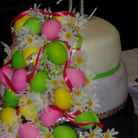 Easter Themed Wedding Cake Chocolate Cake With Raspberry Filling Buttercream Covered In Fondant Topper Real Eggs And Ribbon Are Not Edi Easter themed wedding cake. Chocolate cake with raspberry filling, buttercream covered in fondant. Topper, real eggs, and ribbon are not...