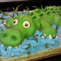 Alligator In The Water Cake Full Sheet Cake Half Chocolate Half Vanilla Gator Is Edible As Well Alligator in the water cake. Full sheet cake half chocolate half vanilla. Gator is edible as well!
