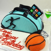Dancer's 21St Birthday Dancer's Bag with ipod, basketball, and jello filled martini with fondant olive Dark Chocolate cake with vanilla buttercream