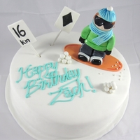 Snowboarding Cake 16th Birthday Snowboarding cake with snowboarding dude and slope signs