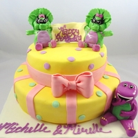 Twins Baby Bop Barney Cake handmade gumpaste/fondant figures bottom tier: vanilla cake with layers of strawberry cream and custardtop tier: dark chocolate cake with...