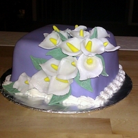 Calla Lilies - Course 3 Cake 1 First gum past flowers I made and first fondant covered cake :)