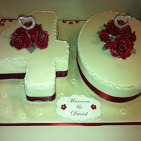 Ruby Anniversary Cake 40th wedding anniversary cake decorated with hand made ruby roses