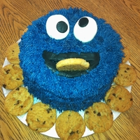 Cookie Monster Cake   sponge cake desorated in cookie monster style