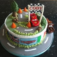 Cars 2 Cake   sponge cake with cars 2 scenery