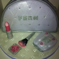 Make Up Bag Case   cake to replicate a make-up bag, purse and make up