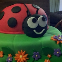 Ladybug The leaf cake is chocolate with pieces of bacon in it. The ladybug is yellow cake
