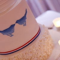 Blue Bird Wedding This cake was extremely heavy! All tiers were mudcake. Dark Choc Raspberry for the top and bottom tiers with dark chocolate ganache and the...