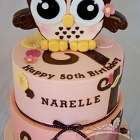An Owly 50Th Birthday This owl cake was inspired by the party invitation, plates, serviettes, etc.. White Chocolate Mud with Vanilla White Truffle Chocolate...