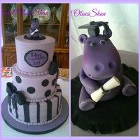 Purple Hippo Graduation Made for a girls graduation, all buttercream iced, fondant decor. Sugar hippo.