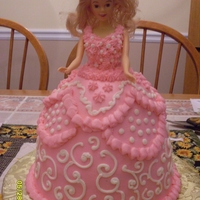 Barbie Cake vanilla cake with vanilla buttercream.
