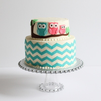Owl Chevron Baby Shower Cake