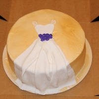Wedding Dress Bridal Shower Cake   Gold airbrushed cake with fondant wedding dress