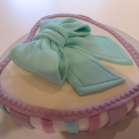 Heart Pastel Birthday Cake   Birthday Cake with Bow in Pastel Colors. Just learning to work with Fondant!