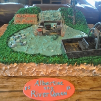 Wetlands Cake Chocolate cake with chocolate buttercream. Everything is edible, ducks, blind, airboat, everything!