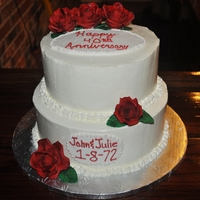 Red Rose Anniversary Cake Buttercream icing with fondant plaques and roses.