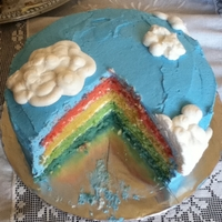 Rainbow Inspired by recipe from American Girl Magazine. Colored layers with buttercream sky and clouds.