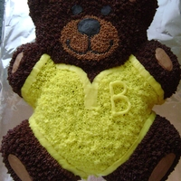 Baby Bear Chocolate cake covered with Chocolate and Buttercream. I used the Wilton pan.